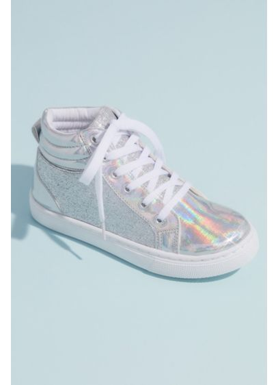 Capelli Grey (Girls High Top Glitter Metallic Sneakers)