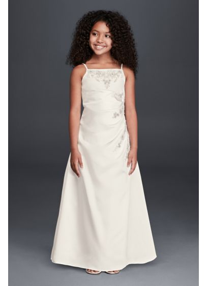 Long A-Line Spaghetti Strap Communion Dress - David's Bridal