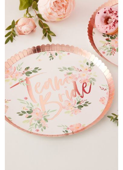 Team Bride Scalloped Floral Plates - Wedding Gifts & Decorations