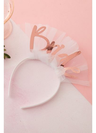 Rose Gold Bride Headband with Tulle - The perfect finishing touch to your bachelorette party