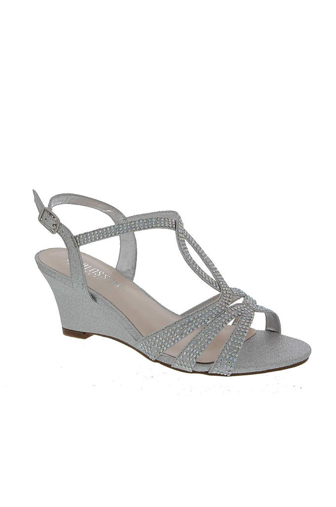 Strappy Crystal-Embellished Low-Heel Wedges - Sparkly, crystal-embellished straps make these low-heel wedges an