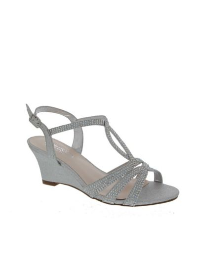 5c3167f6ce8e Blossom Grey (Strappy Crystal-Embellished Low-Heel Wedges)