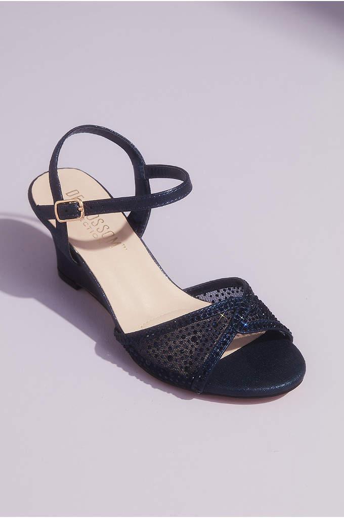 Illusion Peep Toe and Tonal Crystals Wedge Sandals