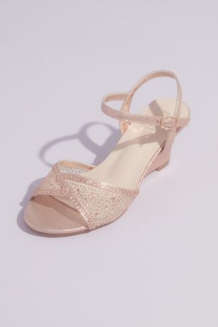 Blossom Blue;Pink;Red Wedges (Illusion Peep Toe and Tonal Crystals Wedge Sandals)