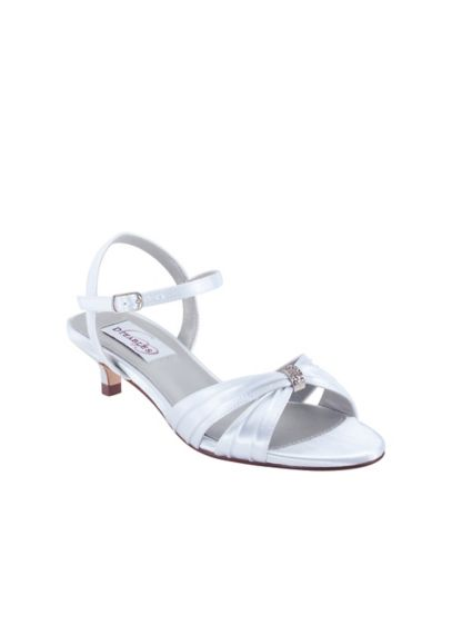 0765d3b3064 Dyeables White (Dyeable Satin Kitten Heel Sandals with Crystals)