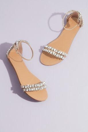 David's Bridal Ivory Flat Sandals (Statement Crystal Flat Sandals)
