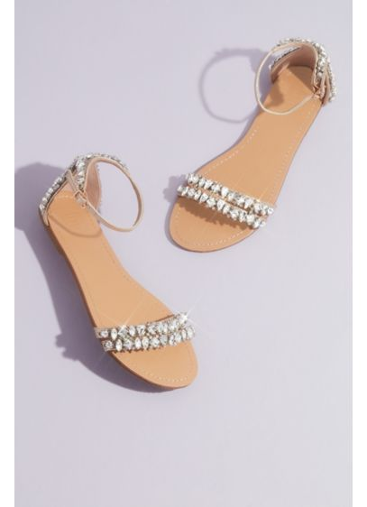 David's Bridal Ivory (Statement Crystal Flat Sandals)