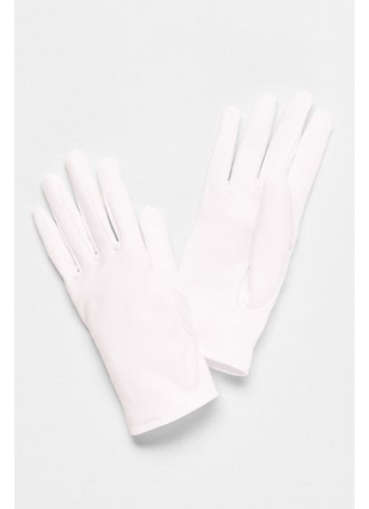 White (Girls Matte Satin Wrist-Length Gloves)