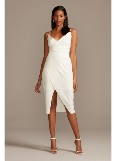 Spaghetti Strap Crepe Faux-Wrap Knee-Length Dress - A sophisticated yet sultry option for a rehearsal