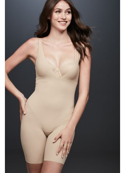 Maidenform Open Bust Smoothing Shorts Bodysuit - This long-leg shaping bodysuit pairs with your own