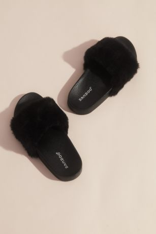 Bamboo Black;Pink;White Flat Sandals (Faux Fur Sporty Slides)