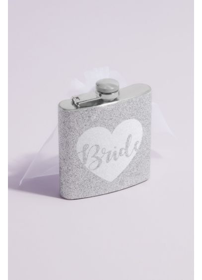 Glitter Bride Flask with Veil - Bottoms up! Take a sip from this allover