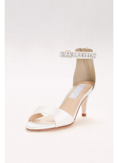 Dyeable Italian Silk Peep-Toe Heels with Crystals - A truly luxe addition to your look, these