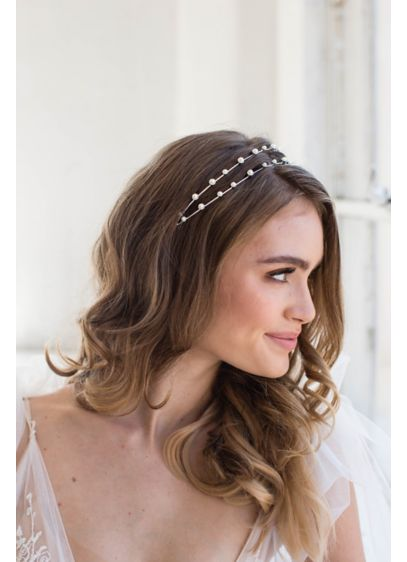 Handmade Faux Pearl Double Strand Headband - Two light and airy strands of faux pearls