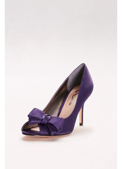 Touch of Nina Ivory (Satin Peep-Toe Heels with Bow)