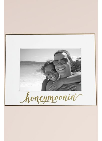 Honeymoonin White and Gold Frame - Show off your favorite honeymoon snap in this