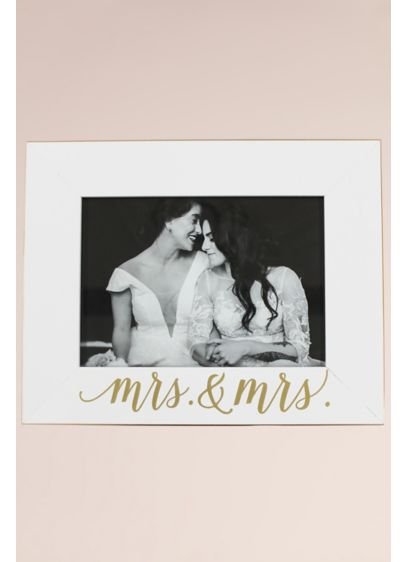 Mrs and Mrs White and Gold Scripted Frame - Wedding Gifts & Decorations
