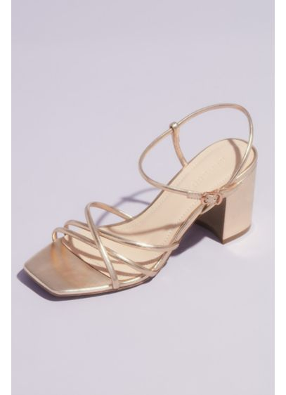 Bamboo Yellow (Strappy Metallic Block Heel Ankle Buckle Sandals)