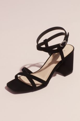 Bamboo Beige;Black Heeled Sandals (Strappy Square Toe Heeled Sandals)