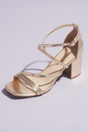 Bamboo Grey;Yellow Heeled Sandals (Swoop Strap Square Toe Metallic Block Heel Sandals)
