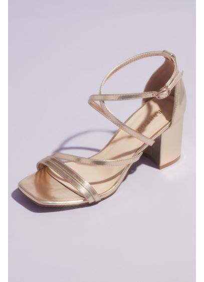 Bamboo Grey (Swoop Strap Square Toe Metallic Block Heel Sandals)