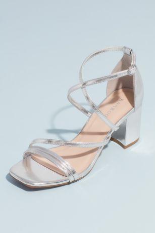 Bamboo Grey;Yellow Heeled Sandals (Swoop Strap Square Toe Metallic Block Heel Sandals)