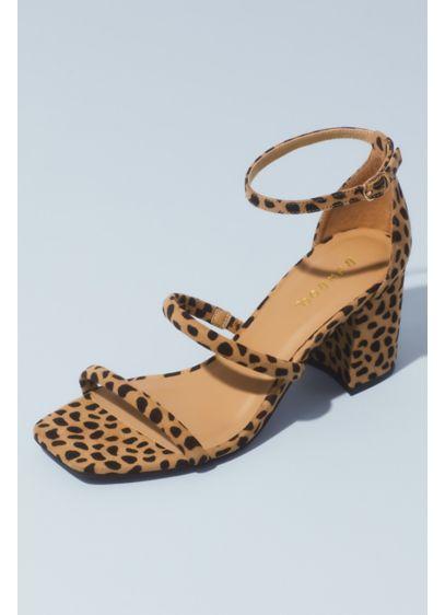 Bamboo Brown (Animal-Print Square-Toe Block Heel Sandals)