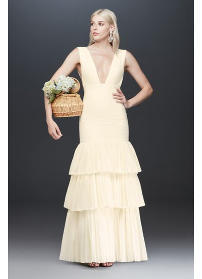 Fame and Partners Dahlia Pleated Dress with Tiers - A georgette sheath silhouette gets a refreshing update