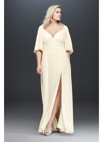 Fame and Partners Plus Size Madelyn Dress - Statement bubble sleeves are paired with a plunging