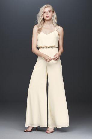 Long Jumpsuit Spaghetti Strap Dress - Fame and Partners x David's Bridal