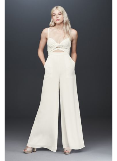 Fame and Partners Landon Crepe Wrap Jumpsuit - This versatile crepe jumpsuit features two large ties