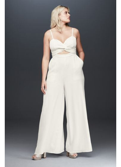 Fame and Partners Plus Size Landon Wrap Jumpsuit - This versatile crepe plus-size jumpsuit features two large