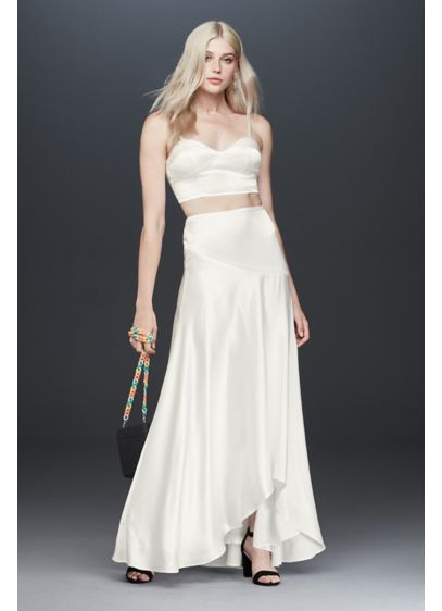 Fame and Partners Portia Crop Top and Skirt - A bustier-style satin crop top and slinky skirt