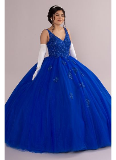 Fairytale Ballgown with Embellished Lace Applique - This ethereal quincea era ballgown feels like it