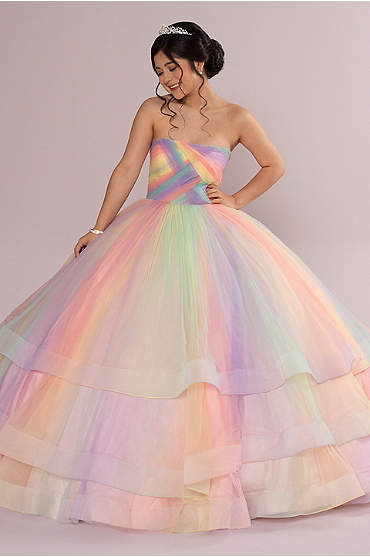 Multicolor 3-Tier Quince Dress with Corset Back