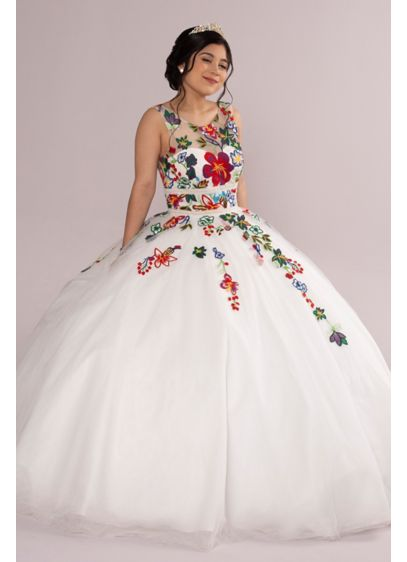 Floral Lace Applique Quince Dress - This quincea era dress bursts with elegance! Turn