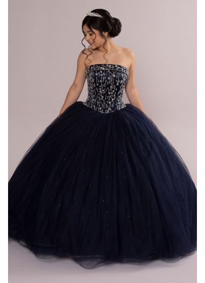Beaded Satin and Tulle Strapless Quinceanera Dress - A classic quincea era dress that screams