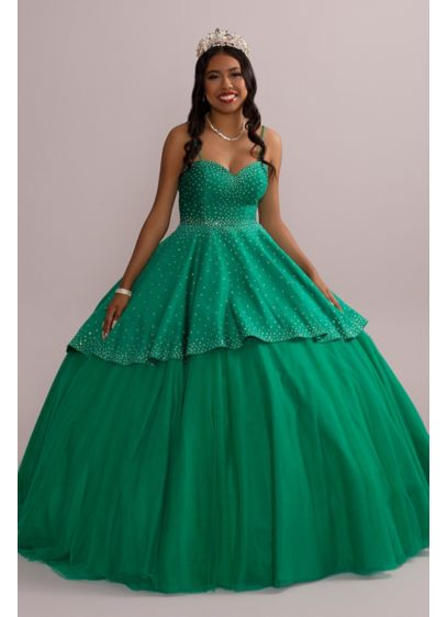 Embellished Quince Gown with Detachable Skirt - Nearly 5,000 crystals adorn this two-in-one quinceanera gown,