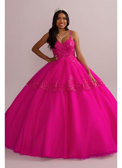 Corded Lace Quince Ball Gown with Bolero - Mesmerize your guests in this vibrant quinceanera gown,