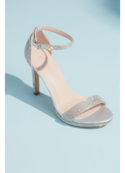 Blossom Grey (Allover Pave Crystal Ankle Strap Sandals)