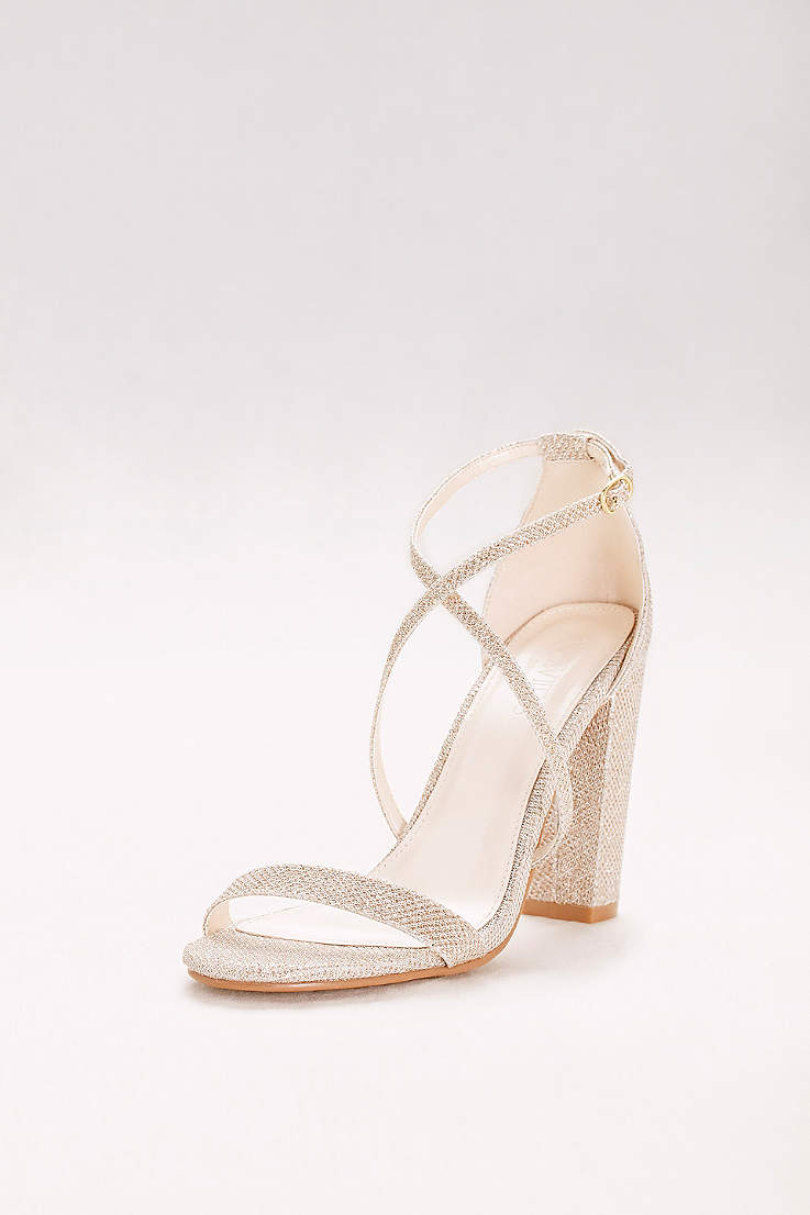 cae828a22 David's Bridal Grey;Yellow Heeled Sandals (Crisscross Strap Block Heel  Sandals)