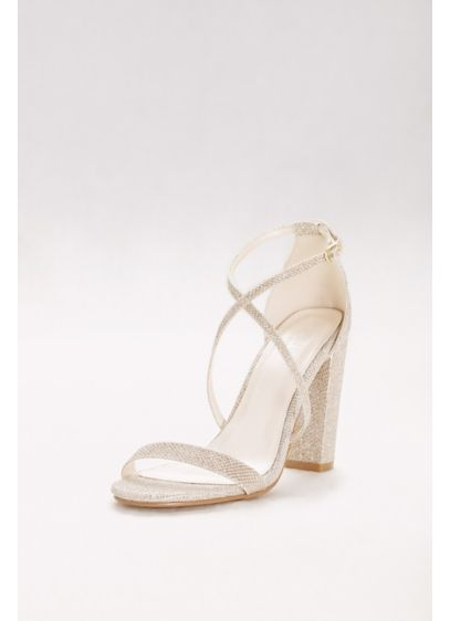 David's Bridal Yellow (Crisscross Strap Block Heel Sandals)
