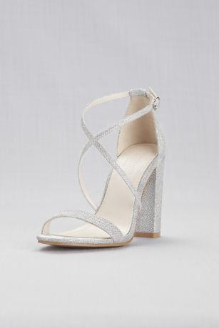 44bd78b26e David's Bridal Grey;Yellow Heeled Sandals (Crisscross Strap Block Heel  Sandals)