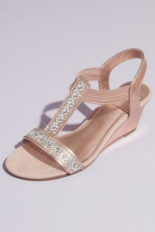 New York Transit Grey;Pink Wedges (Crystal Pull On Metallic T-Strap Wedge Sandals)