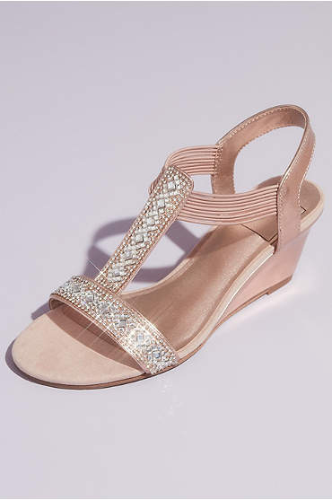Crystal Pull On Metallic T-Strap Wedge Sandals