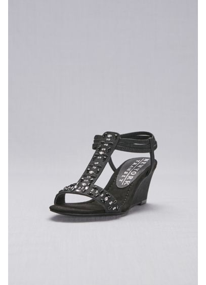 New York Transit Black (Jeweled T-Strap Wedge Sandals)