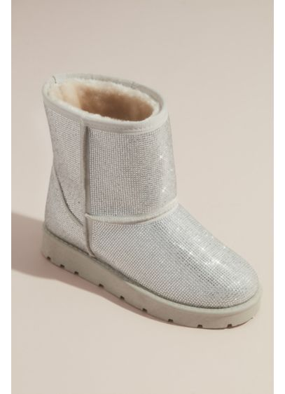 Bamboo Grey (Sparkly Crystal Boots with Faux Fur Lining)