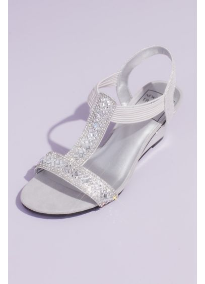 Embellished Metallic Slip-On Wedges with Cutout - Spend all night on the dancefloor in these