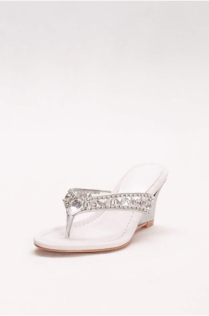 Embellished Wedge Sandals - Jeweled straps and a metallic cut-out wedge elevate