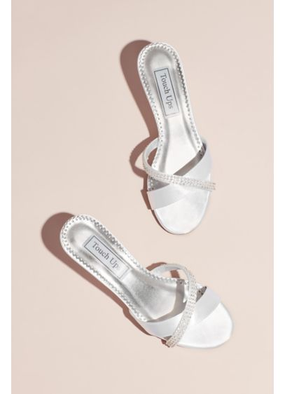 Touch Ups White (Dyeable Satin Mules with Jeweled Strap)